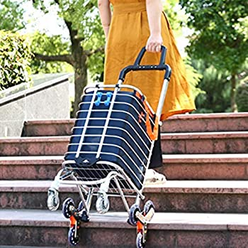 Portable Shopping Cart Folding Grocery Utility Climb Stair Cart with Rolling Swivel Wheels and Waterproof Removable Canvas Bag - Navy Blue