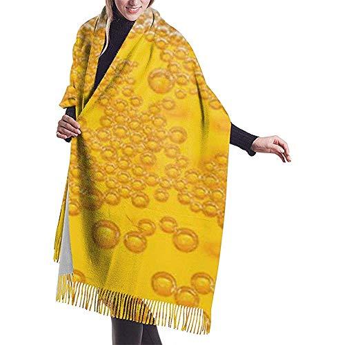 Elaine-Shop Bier Schaum Print Cashmere Schal Womens Casual Warm Schal Wrap Schal Large