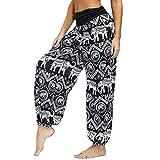 ARCTIC QUEEN Women's Smocked Waist Boho Harem Pants Tie Dye Hippie Lounge Bohemia Yoga Pants Loose Beach Trousers (Black 014, M)