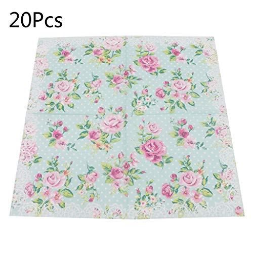 Shaoyanger - 20 servilletas de papel desechables con diseño de flores y ondas, para fiestas, celebraciones festivas, suministros de vajilla