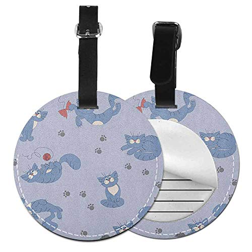 Leather round luggage tag Boys Soft to the touch Playful Cat in Funny Poses with Bowtie Ball of Yarn and a Mouse Grey Paw Prints,Diameter3.7' Blue Purple Grey