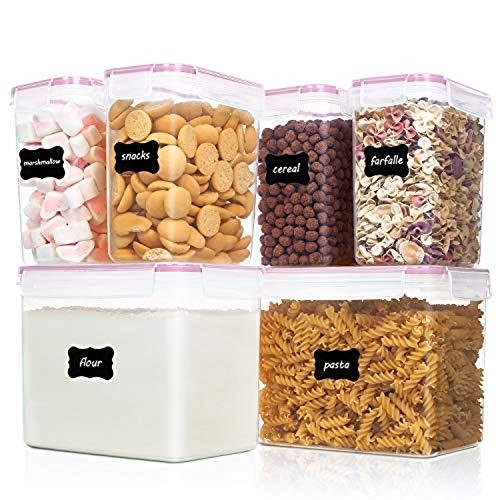 Vtopmart 6 Stück Vorratsdosen Set,Müsli Schüttdose & Frischhaltedosen, BPA frei Kunststoff Vorratsdosen luftdicht, 24 Etiketten für Getreide, Mehl, Zucker usw (Rosa)