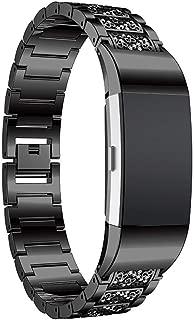 Turnwin Fitbit charge 3バンド/fitbit charge3 スペシャルエディション(special editon)に対応交換バンド 高級金属製ラインストーン ギラギラ可愛バンドcharge 3交換ベルト ウェアアクセサリー