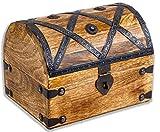 Cofre del tesoro grande 20 x 15 x 16 cm, madera maciza, color marrón