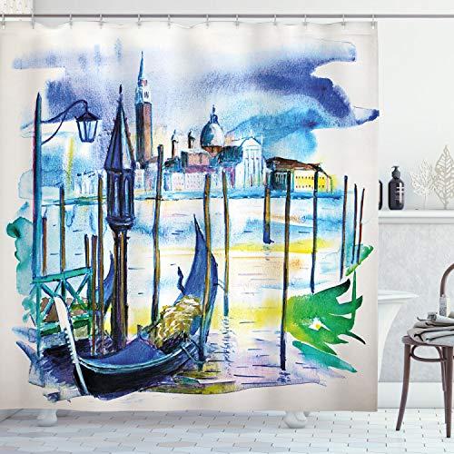 ABAKUHAUS Landschaft Duschvorhang, Boot in Venedig Italien, Waschbar & Leicht zu pflegen mit 12 Haken Hochwertiger Druck Farbfest Langhaltig, 175 x 180 cm, Blau Lila grün