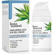 Hyaluronic Acid Eye Gel Cream - Hydrating Dark Circle, Eye Bags Remover & Puffy Eyes Moisturizer - Crows Feet, Lines & Wrinkles, Lifting & Firming Brightening Treatment - Vitamin C & Caffeine - 0.5 oz
