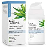 Hyaluronic Acid Eye Gel Facial Cream - Hydrating Dark Circle, Eye Bags Remover & Puffy Eyes Moisturizer - Crows Feet, Lines, Lifting & Firming, Brightening & Wrinkle Cream - Vitamin C & Caffeine - 0.5 oz