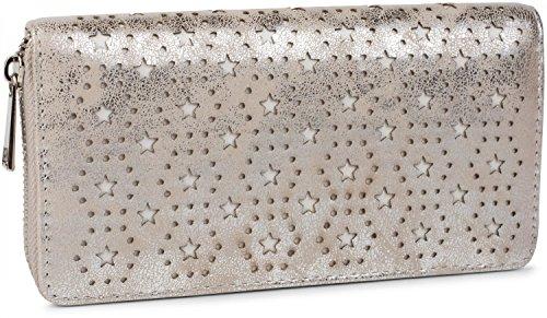 styleBREAKER Monedero con Motivo de Estrellas y Puntos recortados, Cremallera Circular, Mujeres 02040038, Color:Plata Antigua