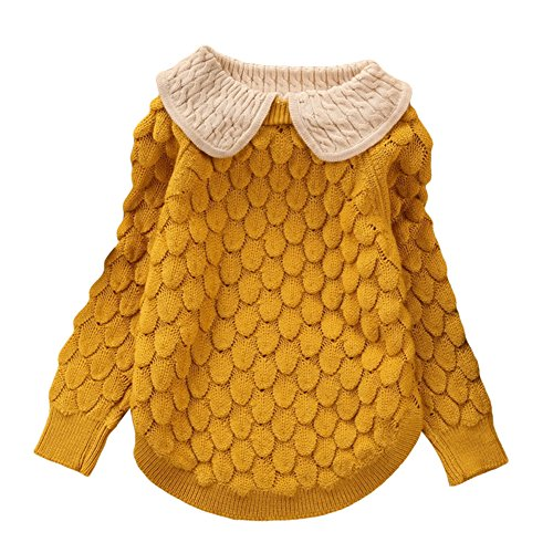 LOSORN ZPY Toddler Baby Girl Cable Knit Sweater Lovely Kid Pullover Sweatshirt Yellow 10