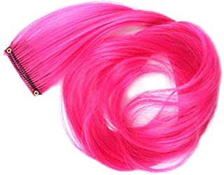 MKSW WigColor Single Piece One-piece Rainbow Halo Hair Extension Long Pink Straight Highlight Synthetic Hair Piece 22inches A10