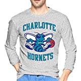 Charlotte Basketball Hornet Men's Ultra Cotton Long Sleeve T-Shirt Classic Graphic Tee Active T-Shirt Gray