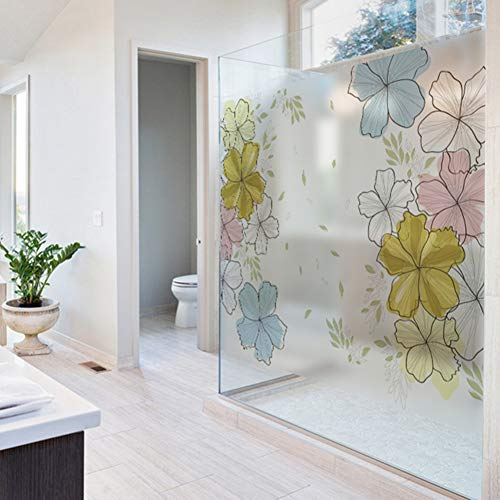 KUNHAN raamsticker raamfolie Pvc raamfolie mat ondoorzichtig privacyglas sticker bloem huisdecoratie digitale print muursticker