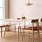 テーブルクロス 透明 テーブルマット PVC製 厚さ0.5mm デスクマット テーブルクロス 長方形 防水 撥水 耐久 汚れ防止 (透明 厚さ0.5mm, 60*120cm)