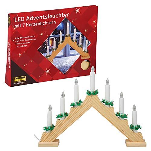 Idena 8582088 - Bougeoir de l'Avent LED en bois de couleur naturelle avec 7 bougies LED blanc chaud, avec ampoule de rechange, câble de connexion avec interrupteur, décoration pour Noël, Avent