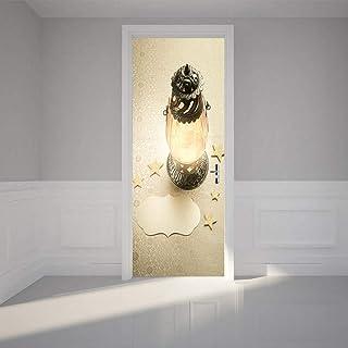 Sticker Porte Autocollant De Porte 3D Lampe De Bricolage Décoration De La Maison Autocollant Mural Autocollant Imperméable...