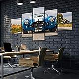 45Tdfc Lienzo en Cuadro Abstracto Moderno200x100cm Impresión Blue 1965 Shelby CobraCsx Roadster 5 Piezas Material Tejido no Tejido Impresión Artística Imagen Gráfica Decoracion de Pared Arte