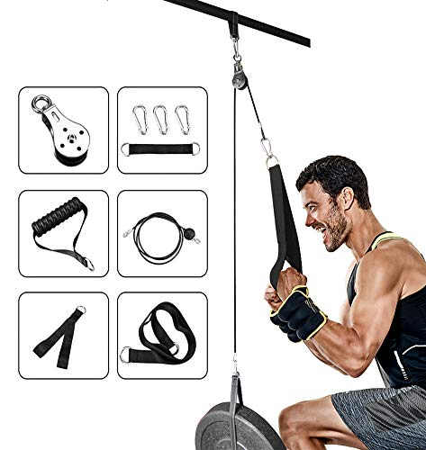 Elikliv Pulley Cable Machine Attachments System, Fitness Weight Pulley System Gym Home Triceps Pulley System for LAT Pulldowns, Bicep Curls, Triceps Extensions Fitness Workout (Include Tricep Strap & Loading Strap)