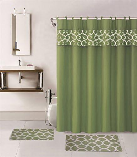 Amazon Com Gorgeoushomevarious Colors Designs 15 Piece Hotel Bathroom Sets 2 Non Slip Bath Mats Rugs Fabric Shower Curtain 12 Hooks Geometric Sage Green Home Kitchen