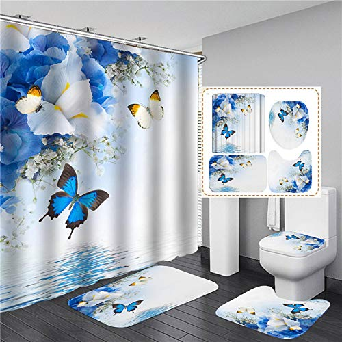 ZHEXI Cortina de Ducha con Estampado de Mariposas Azules, Alfombrilla Antideslizante Impermeable, Cortina de baño de poliéster con Ganchos, WC, 4 uds, decoración de baño