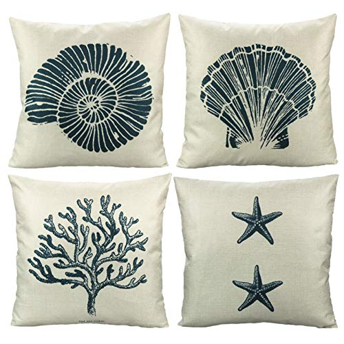 Ocean Park Shell Conch Outdoor Throw Pillow Covers Decorative Summer Beach Coastal Starfish Coral Voyage Cushion Cases Home Decor for Patio Couch Sofa Chair Daybed 18x18 Set of 4