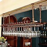 Botelleros-HU Sostenedor Creativo Europeo de la Copa de Vino Que cuelga el Soporte de Vaso de la Matanza de la Barra del Estante del Vino (Color : Bronce, Tamaño : 150 * 30cm)