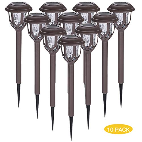 Solar Lights Outdoor Waterproof Path Lights Auto On/Off Solar Pathway Lights for Yard Patio Walkway(Cool White, 10 Pack)