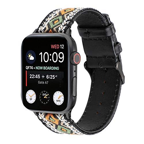 CSJD voor Apple IWATCH 38Mm, 42Mm band, compatibel met IWATCH 1/2/3/4 lederen linnen gevlochten riem