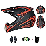 LIYANZWJ Casco de motocross, casco de cara completa con lente HD y ventilación, casco de motocicleta, moto de montaña, para hombres y mujeres, aprobado por DOT (guantes, gafas, máscara)