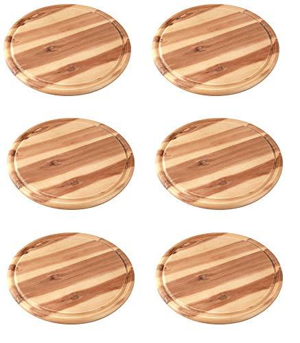 FACKELMANN Vesperbrett AKAZIE, Küchenbrett aus Natur-Holz mit Saftrille, Frühstücksbrettchen (Farbe: Braun) (6 Stück Fleischteller)