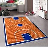 Champion Rugs Basketball Court Sports Theme Area Rug for Teens Bedroom, Kids Playroom or Classroom Carpet (8 Feet X 10 Feet)