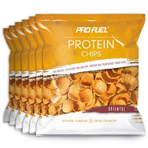 ProFuel Protein CHIPS   Knuspriger Protein Snack mit 42{3c402c9e18c8453911bce7520428eb066e70d9c1cdb33a648fcd6062614e582c} Protein, fettreduziert   Mit Erbsen- und Reisprotein, Vegan   Leckere Eiweiß-Chips für fitness-bewusste Ernährung   6x 50g, ORIENTAL