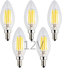 OPALRAY 12V/24V DC LED Candle Bulb, Dimmable with 12V DC Dimmer, 4W 400Lm, 2700K Warm White Light, E12 Small Base, Clear G...