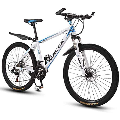 Mountain Bike Mountain Bike, 26 Inches Ladies/Mens MTB Bikes Light Carbon Steel Frame 21/24/27/30 Speeds Front Suspension,White,27speed