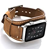 Leotop Compatible with Apple Watch Band 44mm 42mm Men Women Genuine Leather Compatible iwatch Bracelet Wrist Strap Compatible Apple Watch Series 6/5/4/3/2/1 SE (Crazy Horse Cuff Brown, 44/42mm)