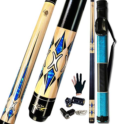 Tai ba cues 2-Piece Pool cue Stick + Hard Case, 13mm Tip, 58', Hardwood Canadian Maple Professional Billiard Pool Cue Stick 18,19,20,21,22 Oz Pool Stick (Selectable)-Blue, Black, Red, Gray, Green