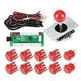 EG STARTS 1 Jugador Arcade DIY Kit Codificador USB a PC Arcade Joystick Botones para USB MAME Juego de PC DIY y Raspberry Pi Retro Controller Parts (Rojo)