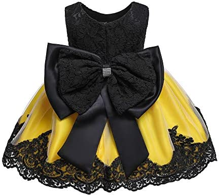 Yellow Dress for Girls 0 3 Month Vintage Lace Tutu Dress for Baby Girls Church Easter Pageant product image