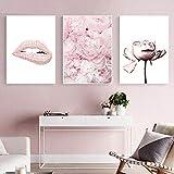 Parfüm Make-up Wandkunst Leinwand Malerei Pink Lip Prints