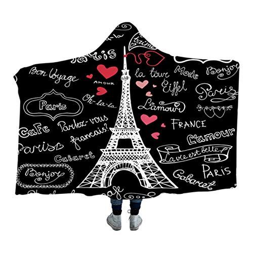 GermYan Manta con Capucha De Corazón De Letras Románticas Torre De París Sherpa Fleece Manta De Microfibra Ropa De Cama Negra 150 * 200Cm