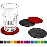 FILU Filzuntersetzer rund 8er Pack (rot, dunkelgrau) - Untersetzer aus Filz für Tisch und Bar als...