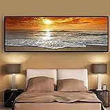 Cuadros de arte de pared Puestas de sol Mar natural Paisaje de playa Carteles e impresiones Pared Paisaje marino Imagen escandinava Decoración de dormitorio 50x150cm sin marco