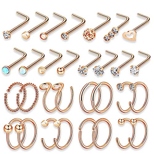 YEELONG Nose Rings 16Pcs 20G 316L Stainless Steel Nose Hoop Tragus Cartilage Helix Ring Lip Septum Piercing Jewelry 8-10MM