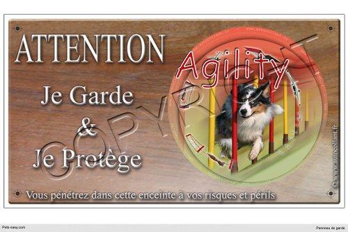 Panneau chien ou plaque Agility-Australian-Shepherd 20 cm