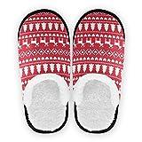 Mnsruu Zapatillas de algodón antideslizantes para el hogar, diseño de árbol de Navidad, color rojo, para el hogar, hotel, spa, dormitorio, viaje, L, para hombres y mujeres