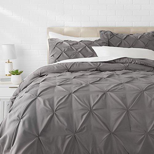 Amazon Basics Pinch Pleat Down-Alternative Comforter BeddingSet - Full / Queen, Dark Grey