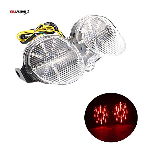 Rear Tail Light Brake Turn Signals Integrated LED Light for Yamaha YZF-R6 1998-2002-Clear