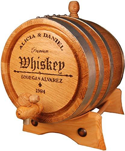 Spaniard Barrels & Coopers Barril Artesanal de Roble Americano (3 litros) + Grabado Personalizado. Kit de añejamiento.