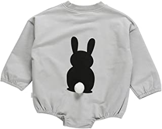ALLAIBB Newborn Unisex Babys Autumn Jumpsuit Long-Sleeved Romper Cartoon Rabbit Pattern Cotton Pullover Solid Color Snap Opening Jumpsuit Fashion Casual Loose Baby Romper (1-3T)