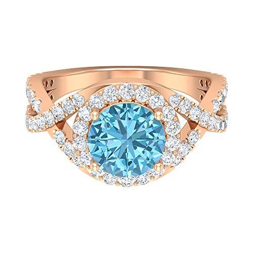 Spiral Shank Engagement Ring, D-VSSI 3 CT Moissanite, 8 MM Solitaire Aquamarine Ring, Halo Gemstone Sidestone Ring, Statement Wedding Ring, 14K Rose Gold, Size:UK O1/2