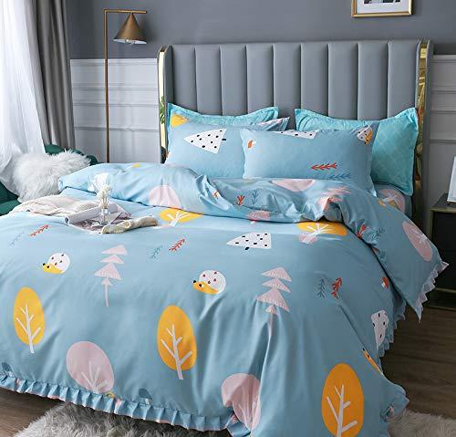 Yinghesheng 4Pcs Kitty Smiley Bear Print Pattern Duvet Cover Set King Size(200X230cm) Luxury Ultra Soft Brushed Cotton Microfiber Bedding Set,blue tree,230 * 230cm